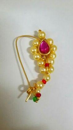 Brahmani nath made of pearls and ruby Bridal Jewellery, Beaded Jewelry, Gauri Decoration, Nath Bridal, Nose Ring Designs, Maharashtrian Jewellery, Traditional Indian Jewellery, Nose Rings, India Jewelry