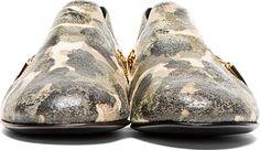 Giuseppe Zanotti: Beige & Green Distressed Leather Camo Loafers