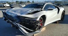 Wrecked 2017 Acura NSX For Sale At Salvage Yard