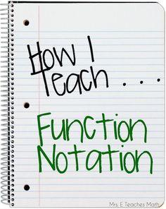 E Teaches Math: How I Teach Function Notation… Algebra Activities, Maths Algebra, Math Resources, Algebra Help, Math Help, Math Fractions, Math Games, Math Teacher, Math Classroom