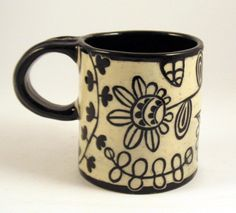 Black & White Modern Sgraffito Carved Design on Stoneware Pottery Mug. $28.00, via Etsy.