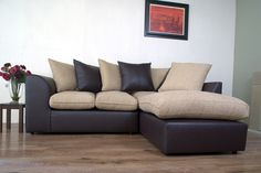 This Fantastic Corner Sofa Made From a Mix Of Leather And Fabric. Is AvaIlable In A Range Of Fabric At A Fantatstic Price From Only £399
