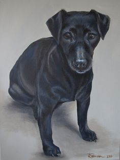 "'Berry' - Patterdate terrier by Tania Robinson. Private commission 2013. 12""x16"" acrylic on canvas."