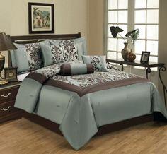 7 Piece Queen Salzburg Aqua Flocked Comforter Set