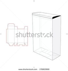Stock vector cube box with with die line template 419868466g tall box with auto lock bottom and die cut pattern layout reheart Image collections
