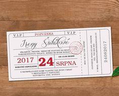 Vstupenka - pozvánka na oslav_červena Birthday Invitations, Event Ticket, Anniversary Party Invitations