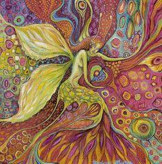 Acrylique et pastel gras format 5O/50cm Période Fées. Artiste Patricia Mouton.