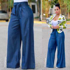 Yanid denim palazzo pants (final sale‼ ) in 2019 Denim Pants Outfit, Summer Pants Outfits, Plazzo Pants Outfit, Dressy Pants, Classy Outfits, Chic Outfits, Fashion Pants, Fashion Outfits, Fashion Women