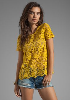 JOIE Devine Crochet Lace Top in Curry at Revolve Clothing