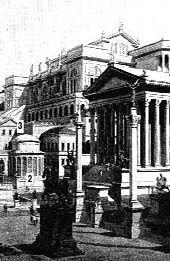 Foro:  Plaza pública, rodeada de templos y monumentos, centro y escenario principal de la vida pública romana. En el foro se reunían las asambleas populares y en él se encontraba la curia o sede del Senado