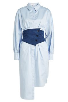 Styled in pale blue cotton poplin, this asymmetric Tibi shirt dress is elevated into a figure-flattering statement with a denim corset in the middle, drawing the eye to your smallest point and lending texture to the mix. Corset Shirt, Denim Corset, Fashion Sewing, Diy Fashion, Fashion Outfits, Fashion Jewelry, Tibi Dresses, Casual Dresses, Corset Dresses