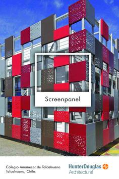 Screenpanel Colegio Amanecer de Talcahuano Chile Hunter Douglas, Chile, Multi Story Building, Trends, Architecture, Dawn, Facades, Arquitetura, Chili