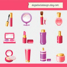 Make up Clipart. Cosmetics Clipart. Digital Cosmetic. Make up thngs Clipart 146