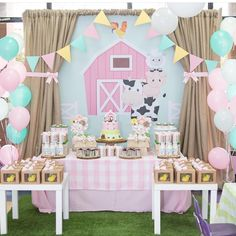 This was the cutest Farm Birthday I have ever attended! Petting Zoo Birthday Party, 2nd Birthday Party For Girl, Farm Animal Birthday, Farm Birthday, Birthday Themes For Girls, Birthday Ideas, Birthday Banners, Barnyard Party, Diy