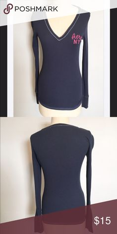 """Aeropostale Navy Logo V-Neck, Med Very nice top still in brand-new condition. Supersoft cotton spandex blend that has tons of stretch. Bust is 36"""" and the total length is 25 inches. From a smoke and pet free home. Bundle up with over 200 items for an additional 20% off or more! Aeropostale Tops"""
