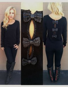 Gorgeous Black Bow Back Sweater, Jeans with Skinny and Long Boots Women Lady Fashion Diy Fashion, Love Fashion, Fashion Outfits, Womens Fashion, Fashion Trends, Fall Outfits, Cute Outfits, Diy Couture, Cute Sweaters