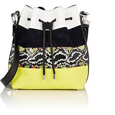 Proenza Schouler Women's Medium Bucket Bag ($569) ❤ liked on Polyvore featuring bags, handbags, shoulder bags, multi, bucket bags, shoulder strap bags, leather drawstring handbags, striped handbag and leather handbags