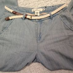 High waisted relaxed chinos Casual and simple nigh wasted chinos. Slightly  loose fitting at the top for comfort. Light blue color. Looks great with a loose short and sandals. Comes with belt. H&M Pants Straight Leg