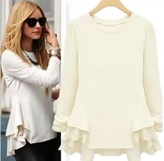 Olivia Palermo Style Stealer Long Sleeve Peplum Top