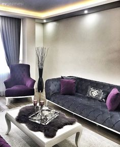 Sophisticated harmony of gray and purple. From the house of Mrs. Living Room Designs, Living Spaces, Corner Sofa Design, Barbie Dream House, Living Room Remodel, Living Room Grey, Luxury Living, Home Projects, Decorating Your Home