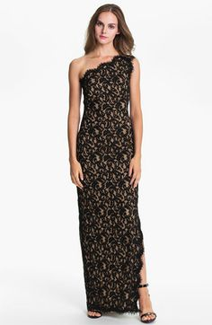 A more formal lace dress option at Nordie's for $378  Tadashi Shoji One Shoulder Lace Gown available at Nordstrom