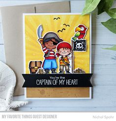 Handmade card from Nichol Spohr featuring Party Like a Pirate Stamp Set and Die-namics, Stitched Fishtail Sentiment Strips Die-namics, and Radiating Rays Stencil from My Favorite Things #mftstamps