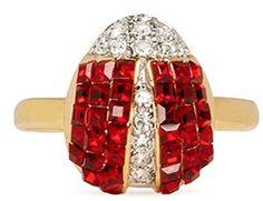 KENNETH JAY LANE Crystal pavé ladybird ring