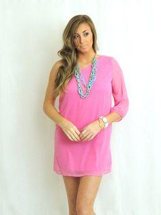 C'mon Get Happy One Shoulder Dress - Pink