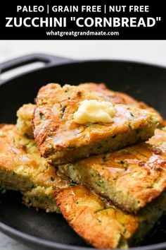 This delicious and easy paleo zucchini cornbread recipe is made without grains or corn, but still has that cornbread flavor and packed with healthy zucchini! You can't taste the zucchini at all so it's a great way to sneak in veggies for kids. #paleocornbread #paleobaking #grainfreebaking #nutfree #kidfriendly #glutenfree #cornbread #healthysidedish #summersidedish #dairyfree #cornbreadrecipe #coconutflourbread