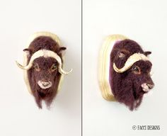 Needle Felted Muskox by Linda Facci of Facci Designs.