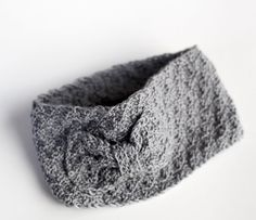 Knitted Headband   Knotted Ear Warmer in Grey  For by LalaPu