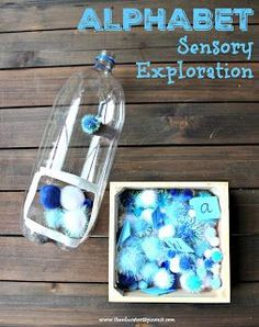 Winter Theme Alphabet Sensory Bin - Alphabet Sensory Exploration for Winter with Kids. This hands on abc game will keep your preschool - Preschool Learning Activities, Alphabet Activities, Sensory Activities, Winter Activities, Toddler Activities, Kids Learning, Kids Alphabet, Preschool Winter, Preschool Alphabet