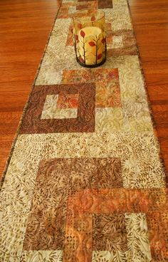 Modern Quilted Batik Table Runner in Warm Autumn by susiquilts, $58.00