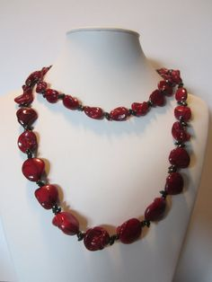 Long  necklace with stripe red and black mother of by yasmi65, $32.00