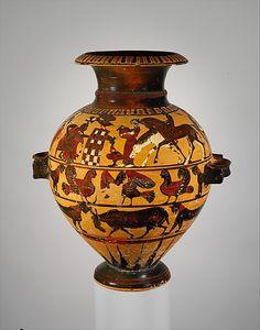 Terracotta hydria (water jar)  Attributed to the Painter of London B 76   Period: Archaic Date: ca. 560–550 B.C. Culture: Greek, Attic