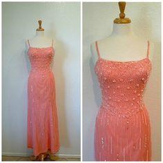 Vintage Pink Silk Dress Mermaid Beaded Sequin by KMalinkaVintage
