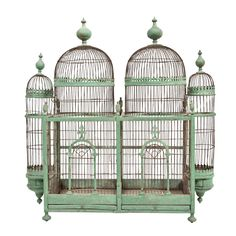 Lovely Green Painted Bird Cage, circa 1880-1900 | From a unique collection of antique and modern bird cages at https://www.1stdibs.com/furniture/more-furniture-collectibles/bird-cages/
