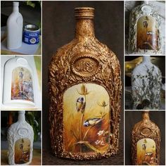 How to make Decorative Glass Bottle step by step DIY tutorial instructions thumb How to make Decorative Glass Bottle step by step DI. Wine Bottle Art, Diy Bottle, Wine Bottle Crafts, Jar Crafts, Diy Arts And Crafts, Hobbies And Crafts, Bottles And Jars, Glass Bottles, Diy Projects To Try