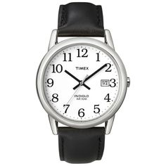 Timex T2H2819J Men's Easy Reader Silvertone Case Black Leather Strap Watch