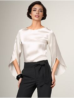 Talbots Source by petermtrala blouses classy Blouse Styles, Blouse Designs, Classy Outfits, Beautiful Outfits, Hijab Evening Dress, Casual Work Wear, Sewing Blouses, Blouse Models, Only Fashion