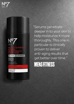 Skincare for him: No7 Men Protect & Perfect Intense Serum reduces deep lines and wrinkles to leave his skin looking healthier and feeling stronger – thanks @Men'sFitness for the mention!