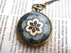 Blue Jeweled Enamel Pocket Watch