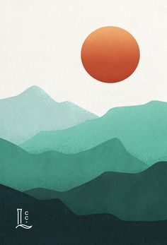 Abstract mountain layers by Laurophyll Minimalist mountain sunset vector art Texture Illustration, Illustration Design Graphique, Mountain Illustration, Design Illustrations, Pattern Illustration, Watercolor Illustration, Simple Canvas Paintings, Small Canvas Art, Easy Canvas Art