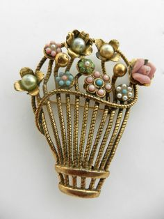 Exquisite Rare GIARDINETTI brooch - flowers basket with pearls,turquoise and…