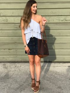 One Shoulder Pin Striped Top