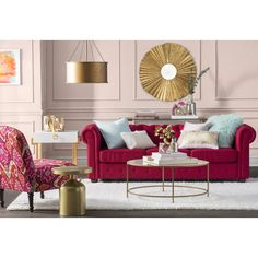 Red Couch Living Room, Red Living Room Decor, Glam Living Room, Living Room Color Schemes, Living Room Designs, Living Room Furniture, Red Sofa Decor, Sofa Design, Decoration