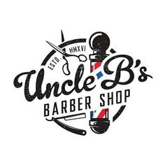 Logo concept for Uncle B's Barber Shop. Shop Logo, Logo Barbier, Lettering, Typography, Logo Boutique, Barber Logo, Barber Poster, Logo Clipart, Barbershop Design
