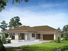 Projekt domu Eris II (wersja C) energo Modern Family House, Modern Bungalow House, Family House Plans, Modern House Plans, House Plans South Africa, Free House Plans, Simple House Design, Dream House Exterior, Village Houses