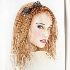 Drawing of Miss Dior Parfume Natalie Portman. Cute black ribbon in hair