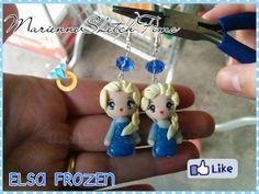 Handmade Earrings Elsa Frozen Disney Polymer by MarienneCreations